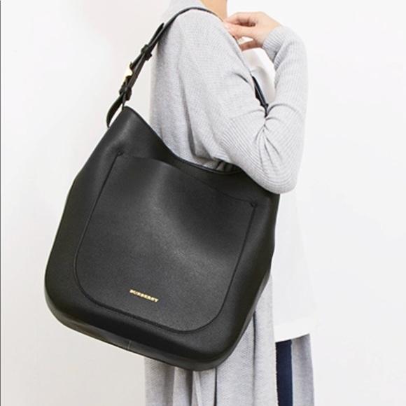 2e00f0f0c04e Burberry Handbags - Burberry Small Elmstone Black Leather Hobo Bag